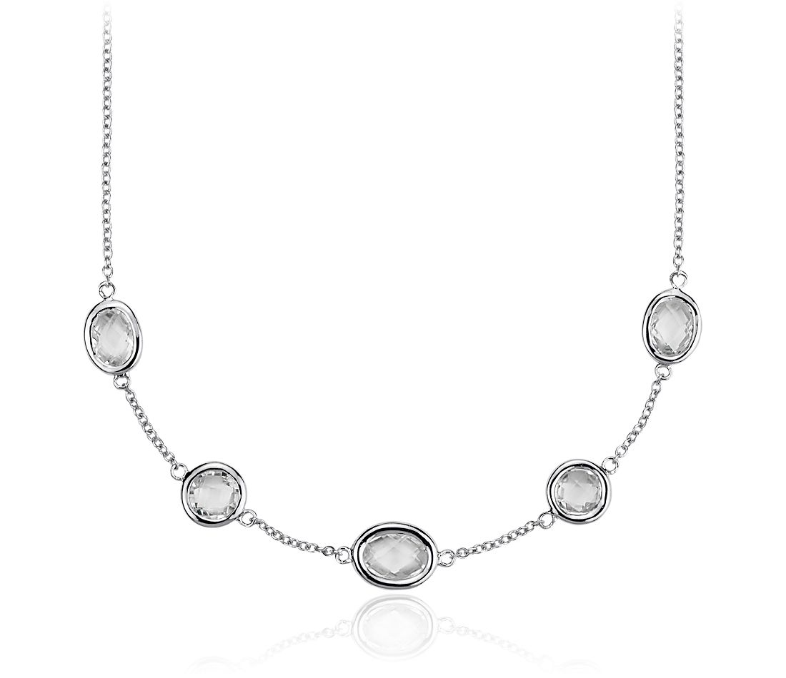 White Topaz 5 Stone Stationed Necklace in Sterling Silver