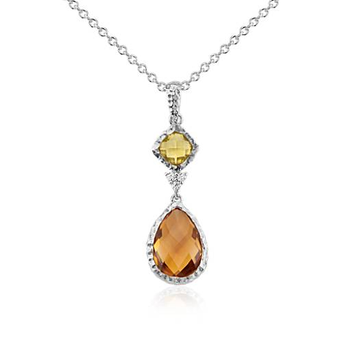 Madeira Citrine , Citrine, and White Topaz Dangle Pendant in Sterling Silver (12x8mm)
