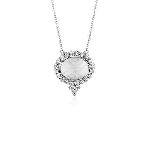 White Topaz Necklace in 18k White Gold
