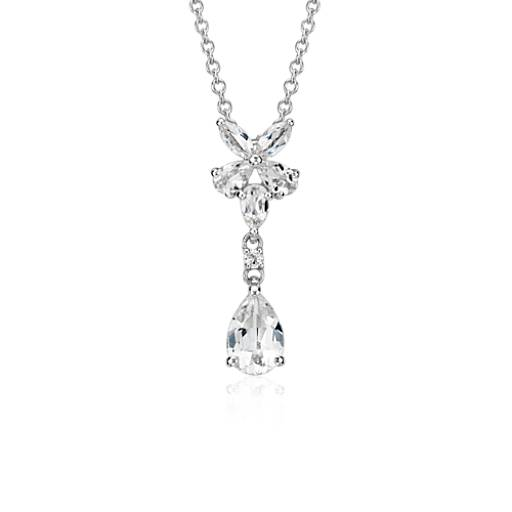 White Topaz Drop Pendant in Sterling Silver (9x6mm)