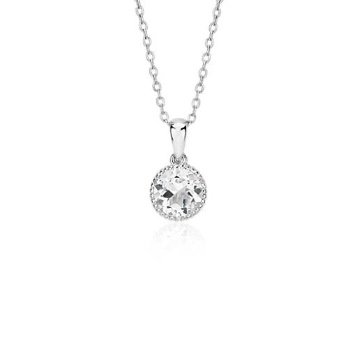 NEW White Topaz Rope Pendant in Sterling Silver (7mm)