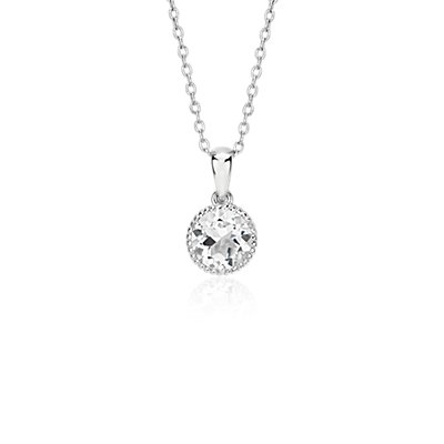 White Topaz Rope Pendant in Sterling Silver (7mm)