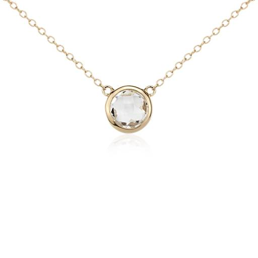 White Topaz Solitaire Necklace in 14k Yellow Gold