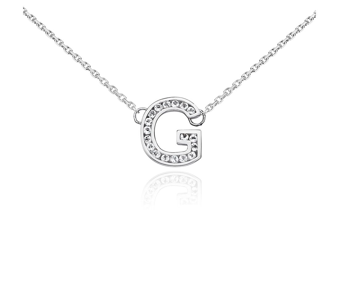 "White Topaz Initial ""G"" Pendant in Sterling Silver"