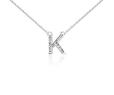 """Colgante con topacios blancos con la inicial """"K"""" en plata de ley"""