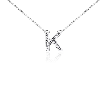 Pendentif initiale « K » topaze blanche en argent sterling