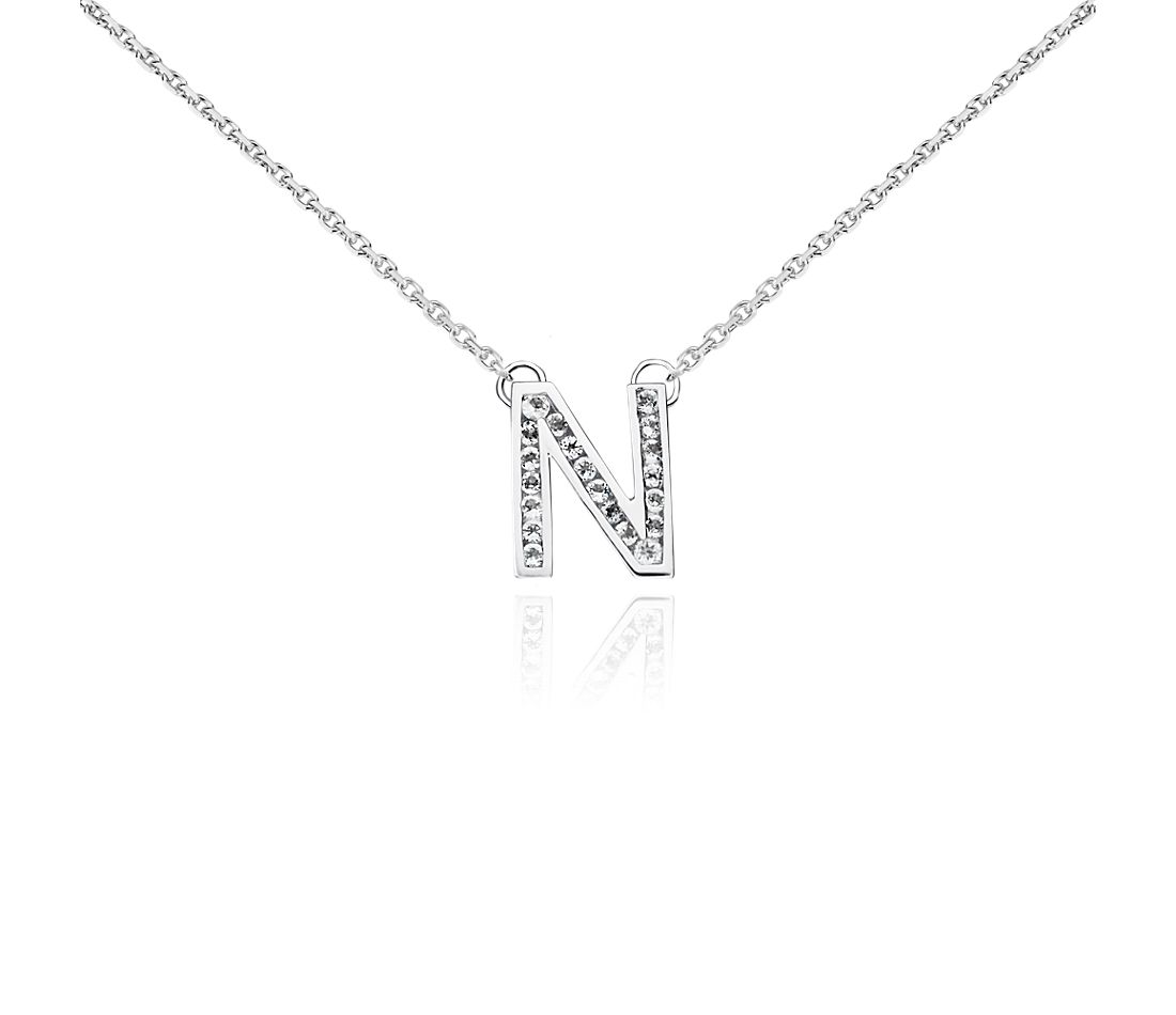 "White Topaz Initial ""N"" Pendant in Sterling Silver"