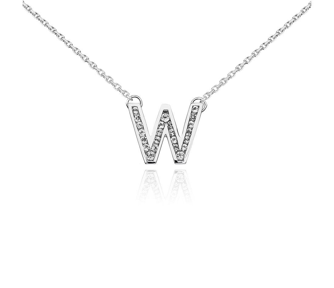 Pendentif initiale « W » topaze blanche en argent sterling