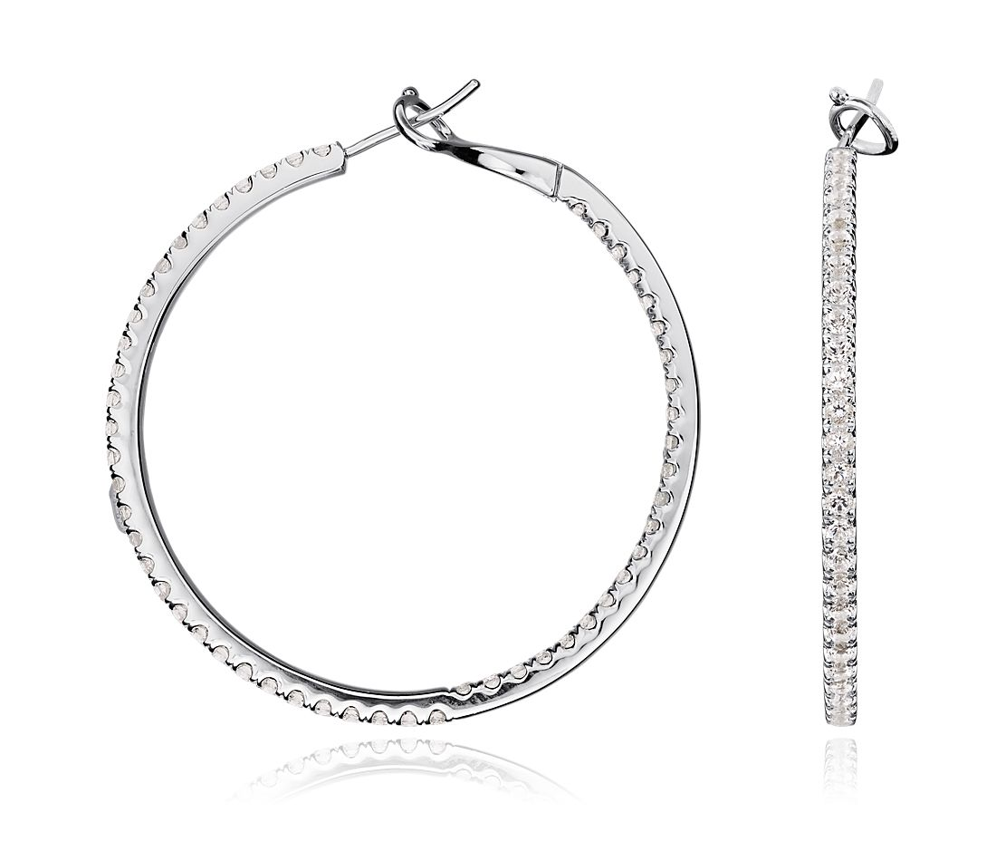 White Topaz Hoop Earrings in Sterling Silver