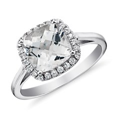 White Topaz and White Sapphire Halo Cushion-Cut Ring in Sterling Silver