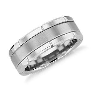 NOUVEAU Link Wedding Band en carbure de tungstène blanc (8 mm)