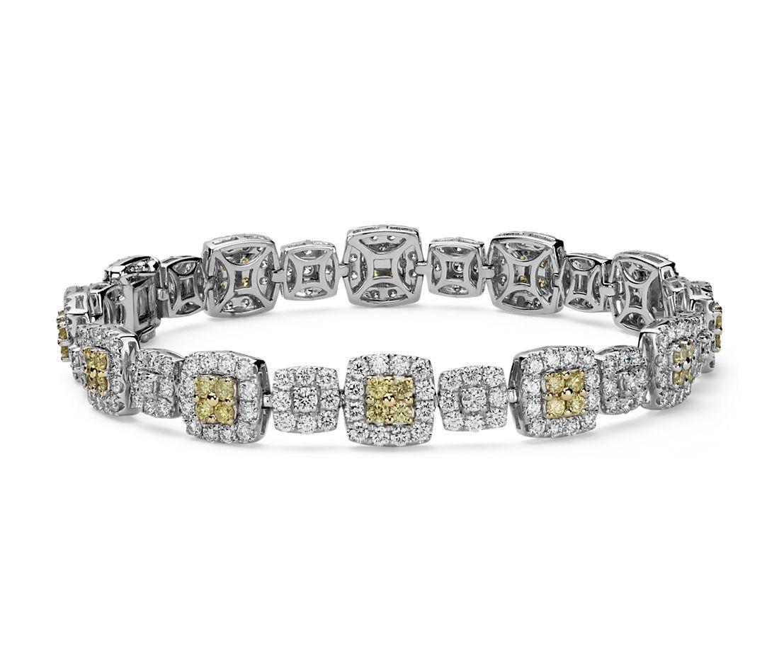 Bracelet halo diamant jaune fantaisie et blanc en or 18carats (5,12carats, poids total)