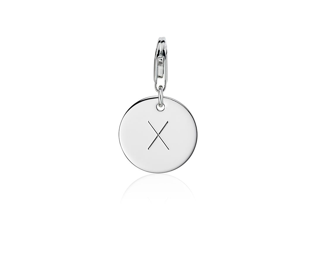 """X"" Initial Charm in Sterling Silver"