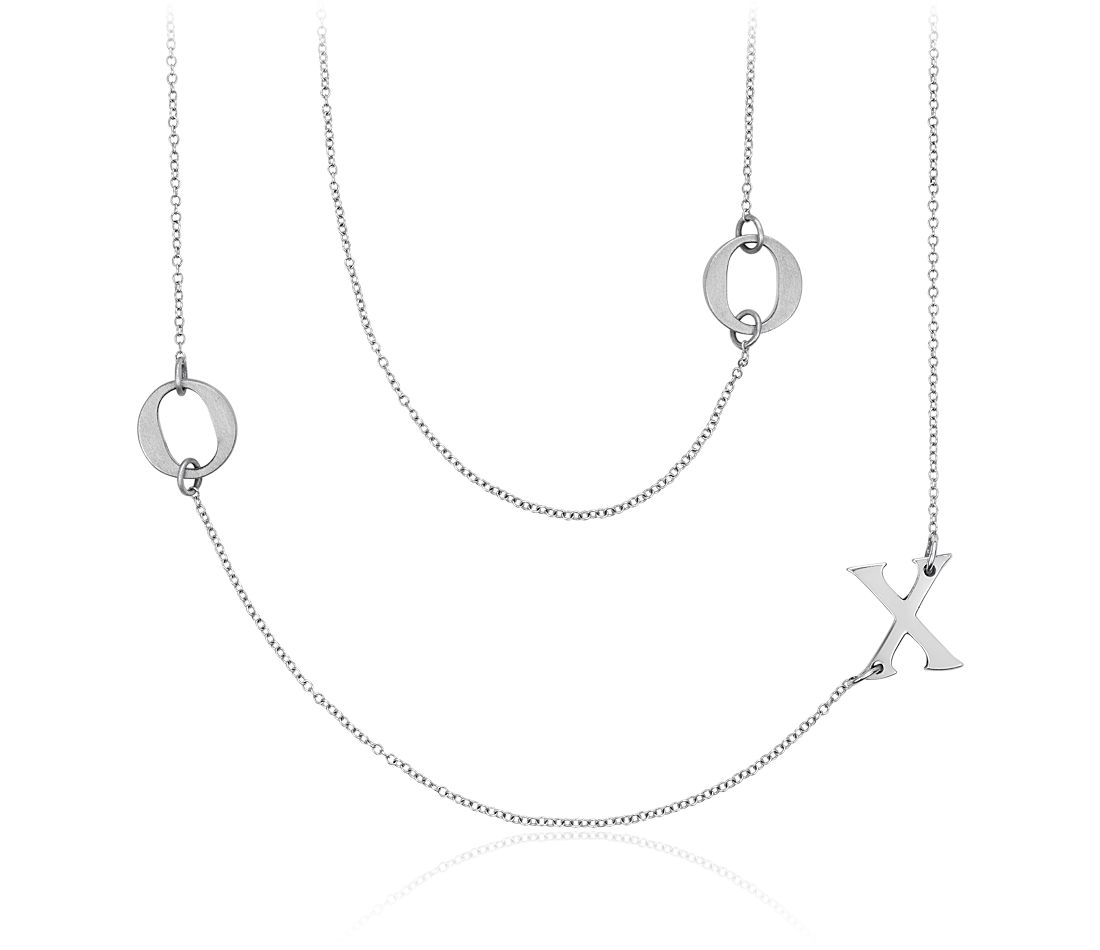 XO Necklace in Satin Sterling Silver