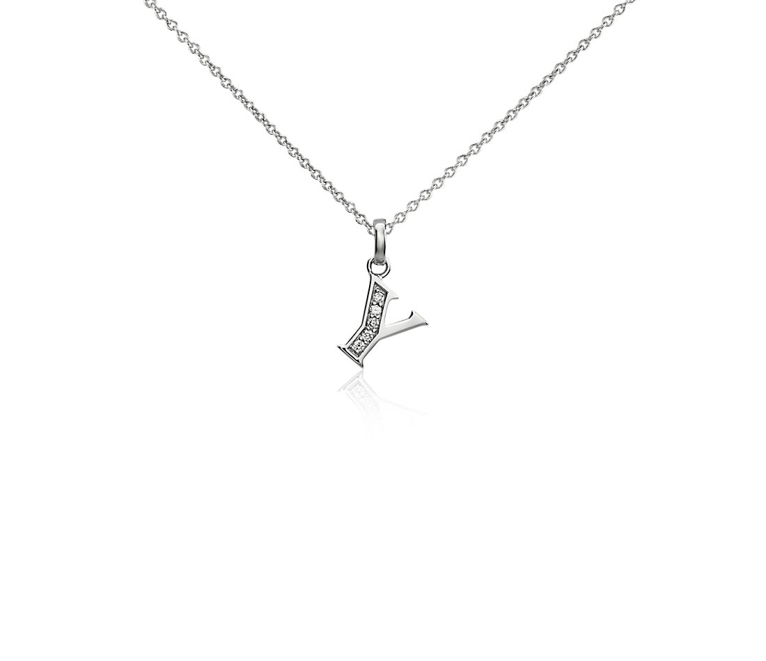 "Mini Initial ""Y"" Diamond Pendant in 14k White Gold"