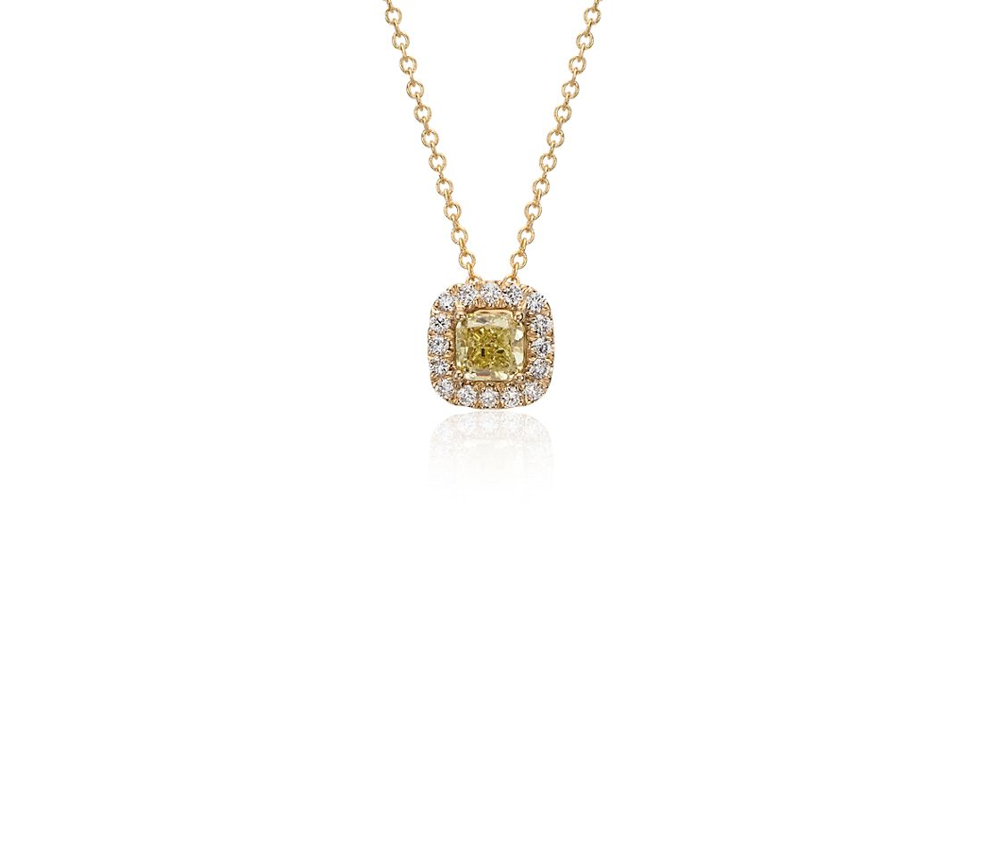 Yellow Diamond Cushion Halo Pendant in 18k Yellow Gold