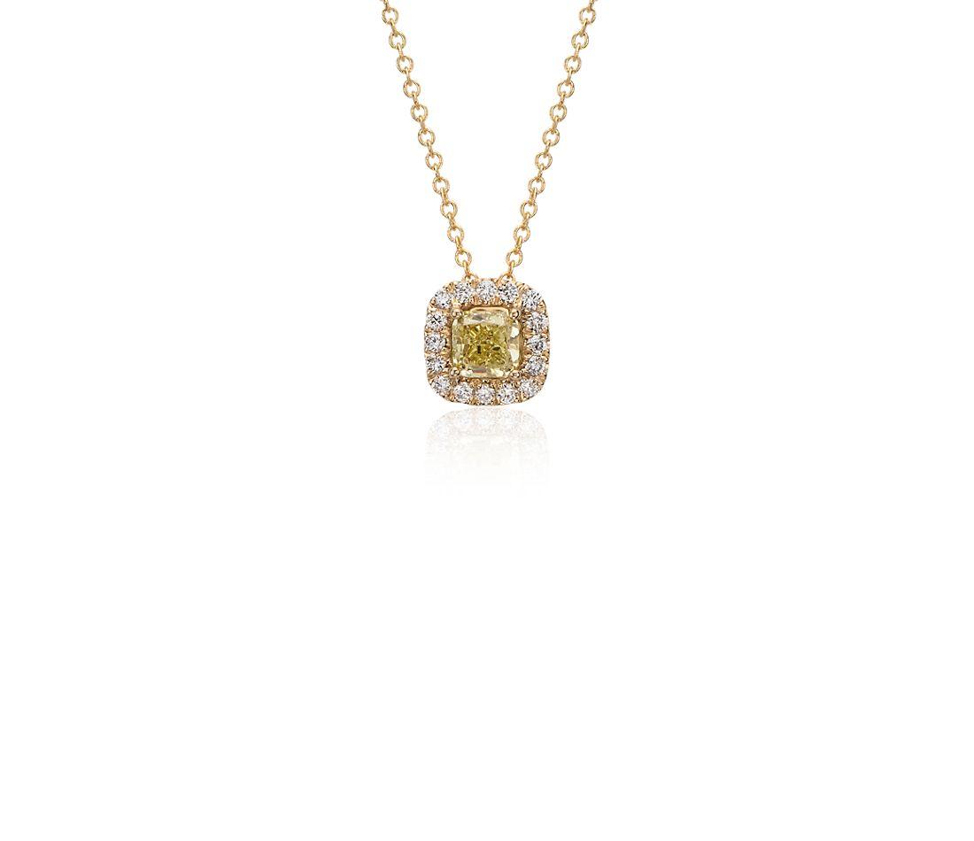 Yellow Diamond Cushion Halo Pendant in 18k Yellow Gold