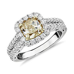 NOUVEAU Bague diamant jaune taille coussin avec cercle fendu en or blanc et jaune 18carats (2,01carats, poids total)