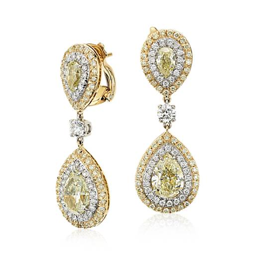 NEW Yellow and White Diamond Double Halo Drop Earrings in 18k Yellow Gold and Platinum (7.43 ct. tw.)
