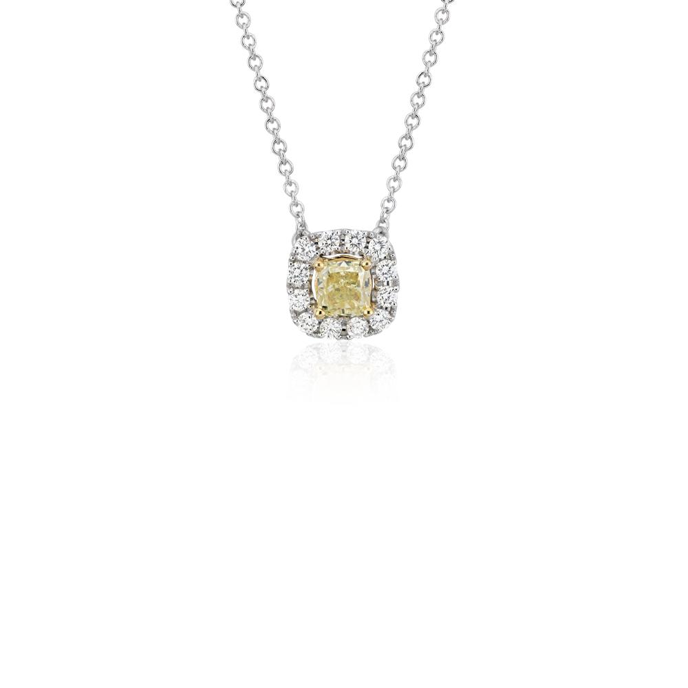 NOUVEAU Pendentif goutte diamant jaune en or blanc et jaune 14carats (3/4carat, poids total)