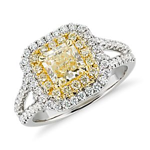 NEW Yellow Diamond Eiffel Halo Ring in 18k White and Yellow Gold (1.73 ct. tw.)