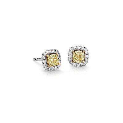 Boucles d'oreilles halo de diamants jaunes en or blanc 14carats (1carat, poids total)
