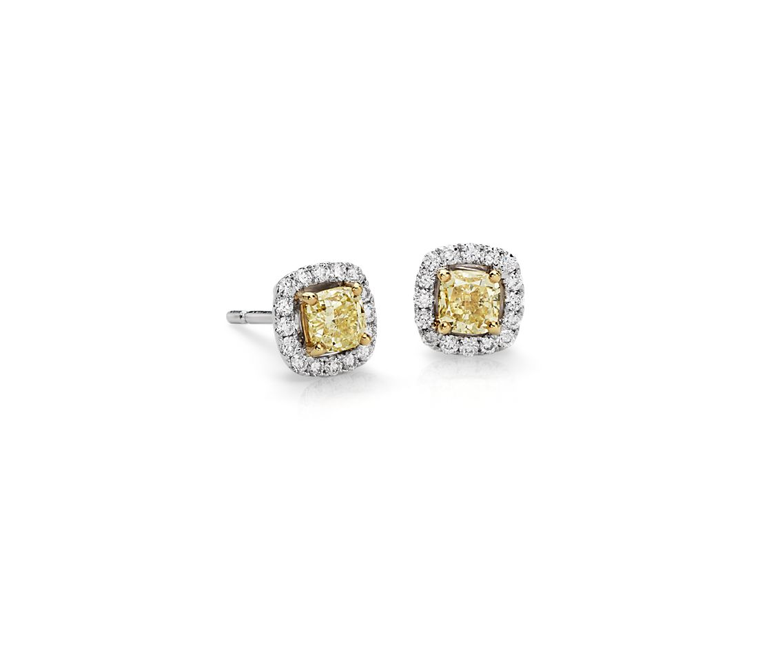 Yellow Diamond Halo Earrings in 14k White Gold