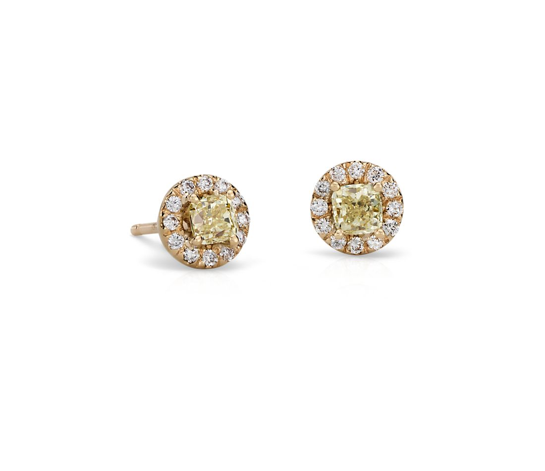 Yellow Diamond Halo Earrings in 18k Yellow Gold