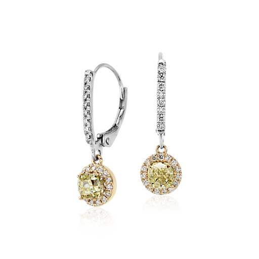 Yellow Diamond Halo Leverback Earrings in 18k White and Yellow Gold