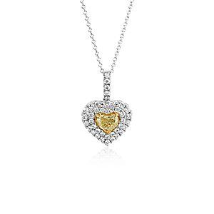 NEW Yellow Diamond Heart Pendant in 18k White Gold (0.91 ct. tw.)