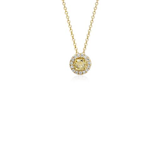 Yellow Diamond Halo Pendant in 18k Yellow Gold