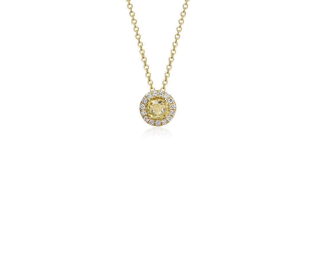 Yellow Diamond Halo Pendant in 18k Yellow Gold (1/2 ct. tw.)
