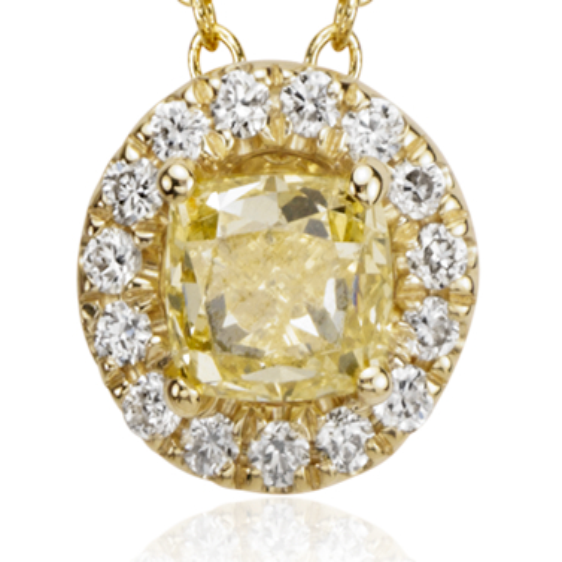 Yellow Diamond Halo Pendant in 18k Yellow Gold (1/2 ct. tw.)