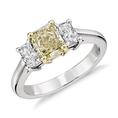 Fancy Light Yellow Diamond Three-Stone Ring in 18k White and Yellow Gold (1.01 ct. center)