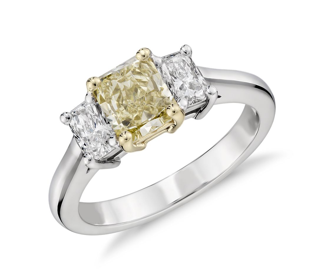 Fancy Light Yellow Diamond Three Stone Ring In 18k White