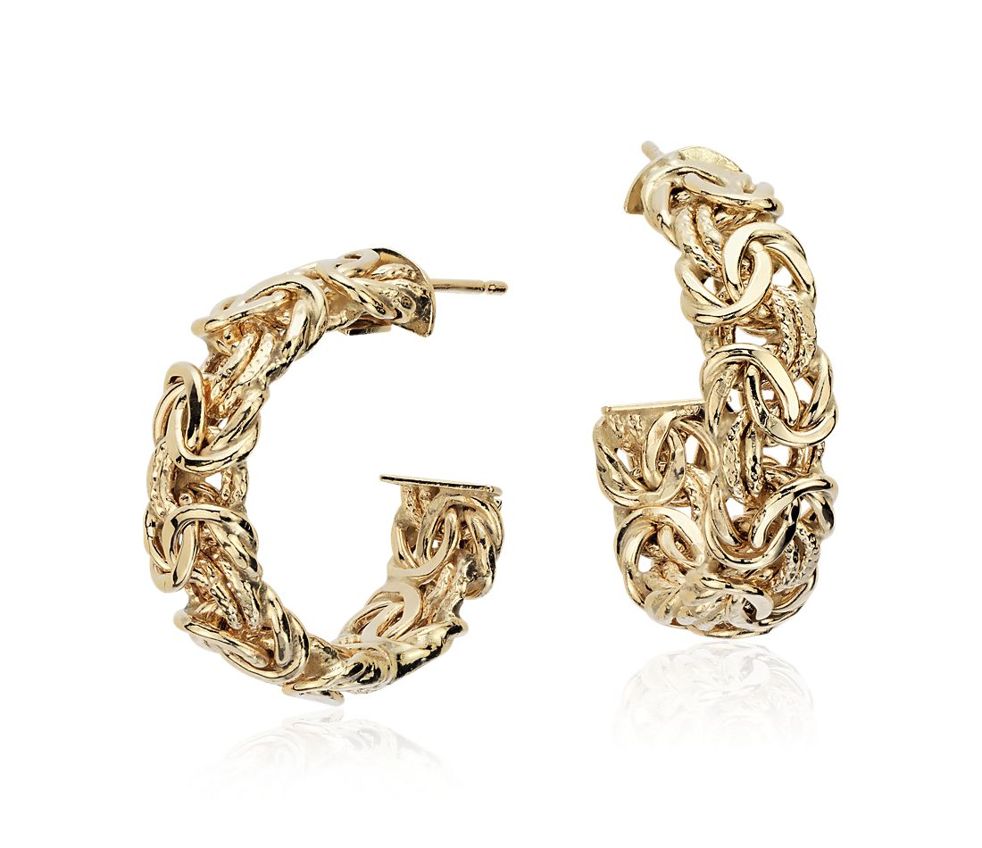 "Byzantine Hoop Earrings in 18k Yellow Gold (1"")"
