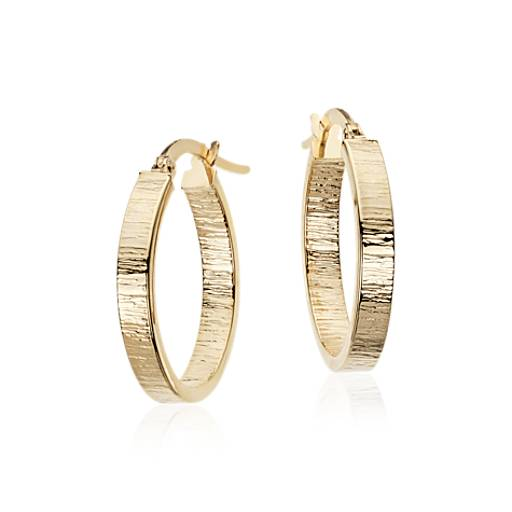 Oval Hammered Hoop Earrings in 14k Yellow Gold