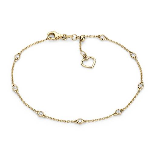 Diamond Station and Heart Bracelet  in 14k Yellow Gold (1/4 ct. tw.)