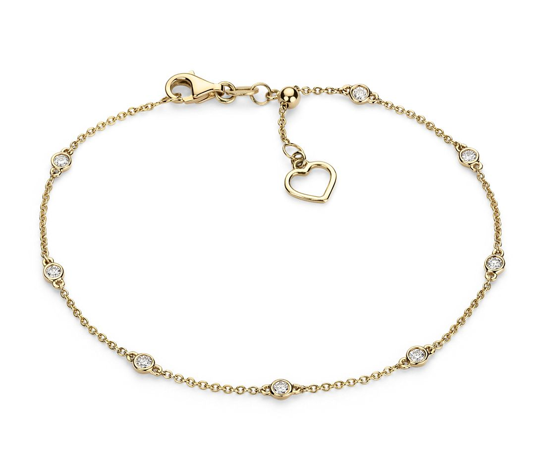 Diamond Station and Heart Bracelet in 14k Yellow Gold (1/4 ...