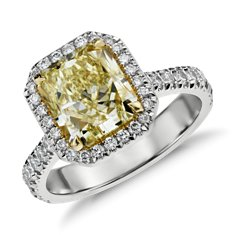 Fancy Yellow Radiant Cut Micropavé Halo Diamond Ring in 18k White Gold (3.81 ct. tw.)