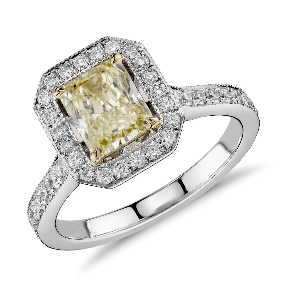 Fancy Yellow Radiant Cut Micropave Halo Diamond Ring in 18k White Gold (1.74 ct. tw.)