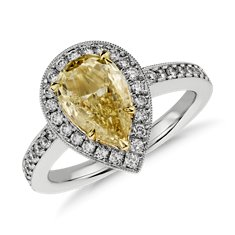 Fancy Yellow Micropavé Halo Diamond Ring in Platinum (2 ct. tw.)