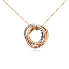 Infinity Rings Pendant in 14k Tri-Colour Gold featured in SheKnows.com