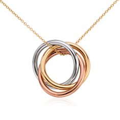 Infinity Rings Pendant in 14k Tri-Color Gold