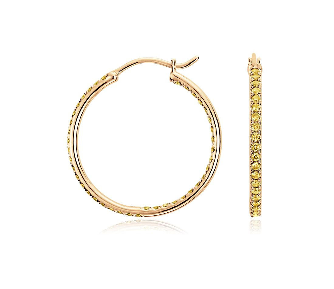 Yellow Sapphire Hoop Earrings in 14k Yellow Gold