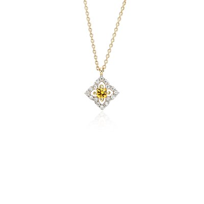 Petite Yellow Sapphire Floral Pendant Necklace in 14k Yellow Gold (2.8mm)