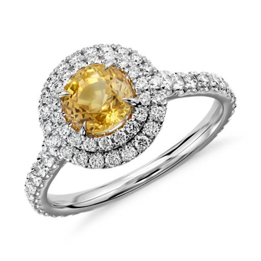 Yellow Sapphire and Diamond Double Halo Pavé Ring in 18k White Gold (1.29 cts) (5.9mm)