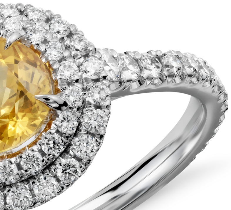 Yellow Sapphire and Diamond Double Halo Pavé Ring in 18k White Gold (1.29 cts)