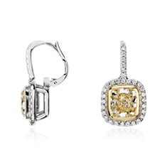 Yellow and White Bezel-Set Cushion-Cut Diamond Halo Earrings in 18k White and Yellow Gold (4.41 ct. tw.)