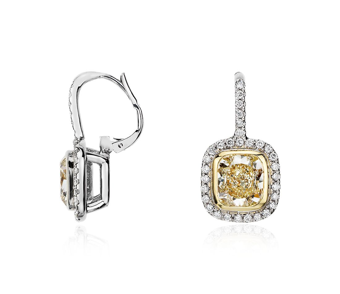 Yellow Cushion-Cut Diamond Halo Earrings in 18k White and Yellow Gold (4.41 ct. tw.)
